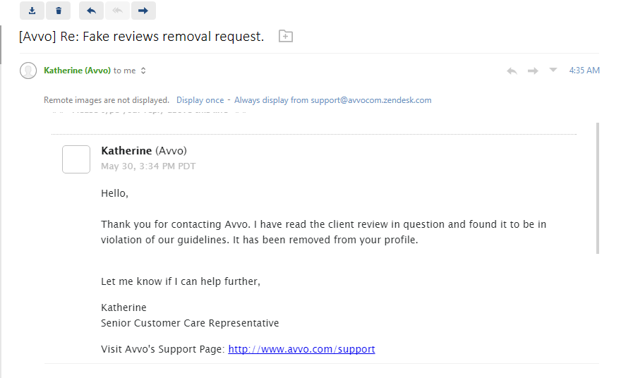 AVVO review removed