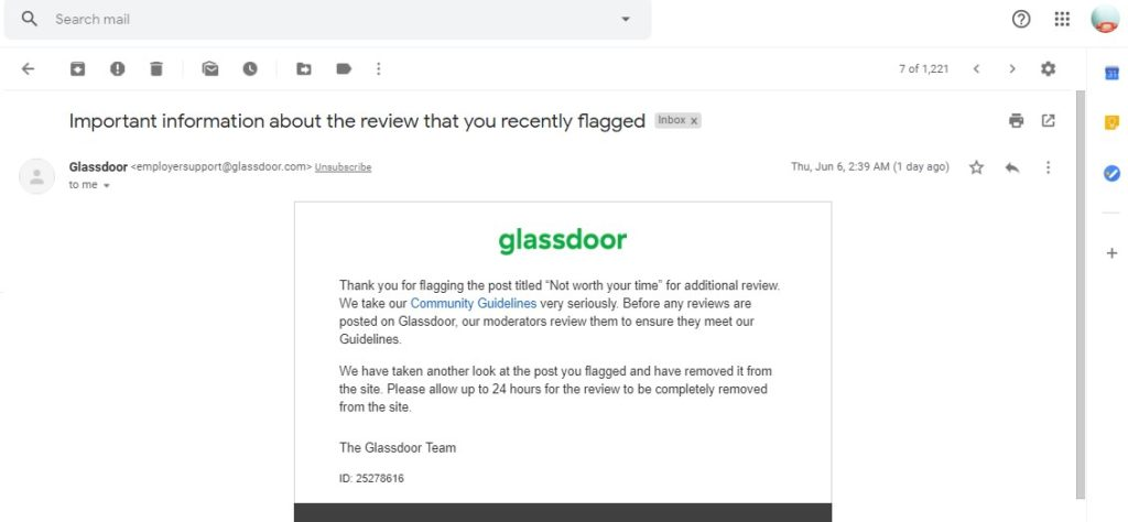 glass door review removal